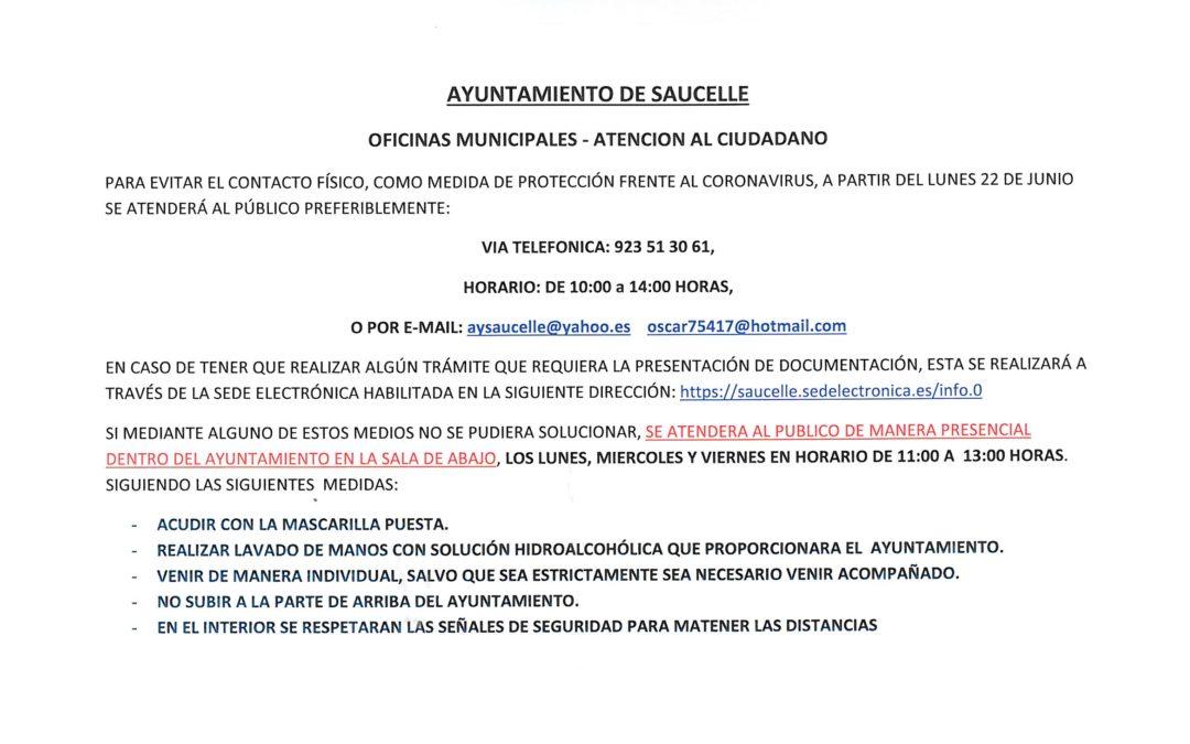 ATENCIÓN AL CIUDADANO EN EL AYUNTAMIENTO DESDE EL LUNES 22 DE JUNIO