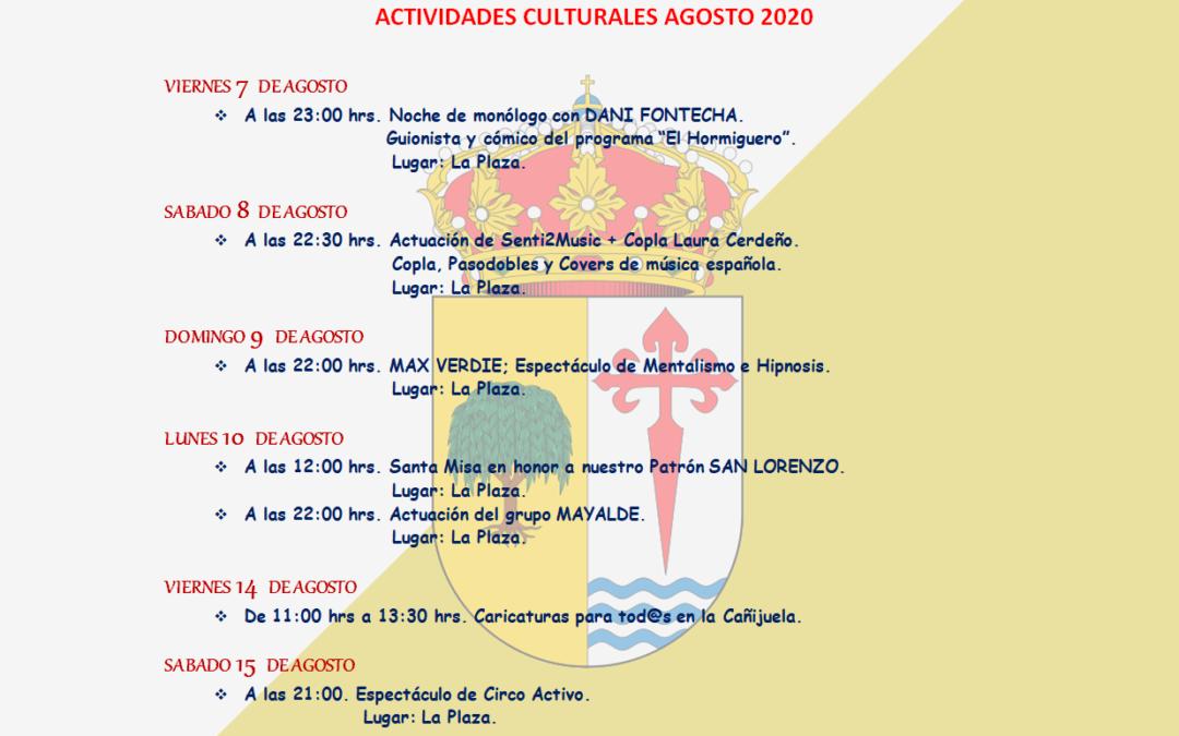ACTIVIDADES CULTURALES AGOSTO 2020